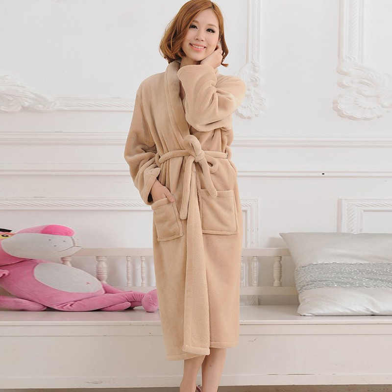 ... Lovers Solid Flannel Bathrobe Thick Warm Sashes Bow Tie Man Woman Long  Robe Couple Thicken Night ... d41a63f5d