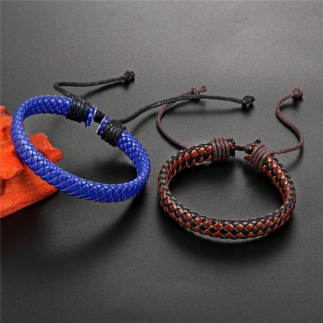 Модный мужской браслет в стиле панк плетеный кожаный простой