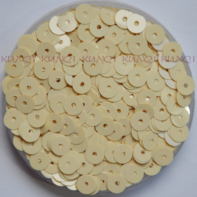 New 6mm Solid Light Beige Flat Round Loose Sequin Paillette Sewing Craft 8958324265b5