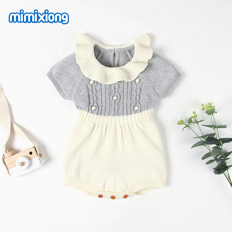Baby Bodysuits Short Sleeve Newborn Bebes Girl Body Tops Fashion Toddler Kids Knitted Jumpsuits Children Outfits Infant Coverall