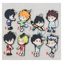 Anime Keychain Anime Nekoma Karasuno Haikyuu! Hinata Syouyou kageyama School Volleyball Rubber Resin Pendant Keyrings Key Chain