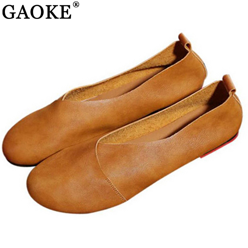 2018 Genuine Leather Flat Shoes Woman Hand-sewn Leather Loafers Cowhide Flexible Spring Casual Shoes Women Flats Women Shoes(China)