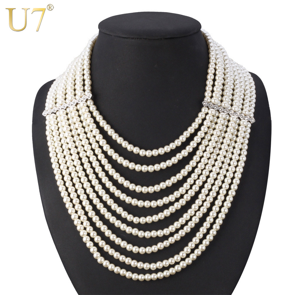U7 Multi Layer Simulated Pearl Necklace Fashion Jewelry African Bead Long Necklace Women Wedding Gift N406 original bare projector lamp 28 057 u7 300 for osram u7 137sf u7 132 u7 132h u7 132hsf u7 132sf u7 137 u7 300