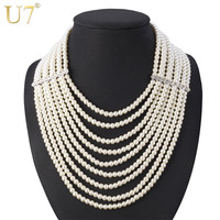 U7 Multi Layer Simulated Pearl Necklace Fashion Jewelry African Bead Long Necklace Women Wedding Gift N406