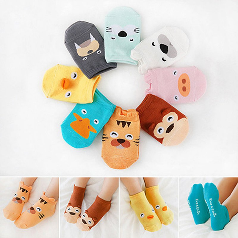 Kids Baby Unisex Girls Boys Cotton Cartoon Animal Anti Slip Boots Ankle Socks 1-4Y