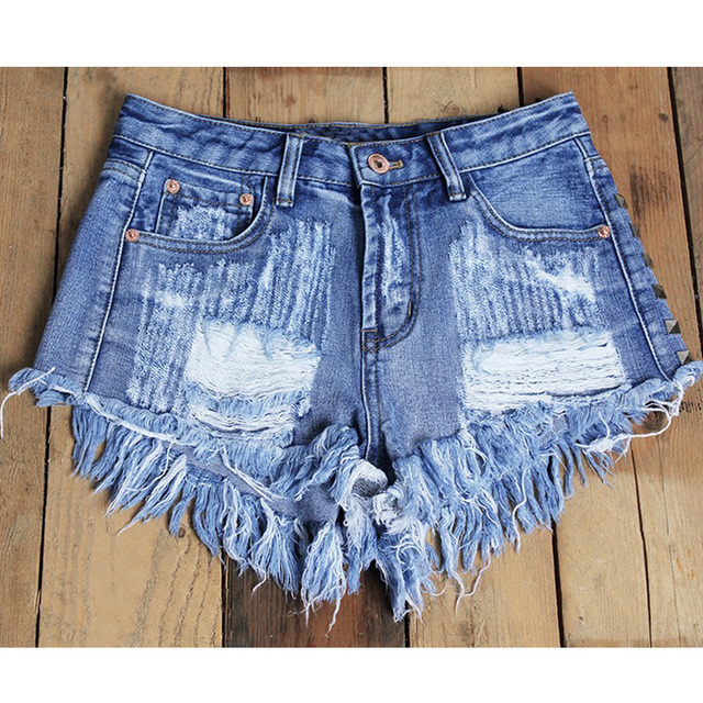 catonATOZ 1993 Women's Fashion Brand Vintage Tassel Rivet Ripped High Waisted Short Jeans Punk Sexy Hot Woman Denim Shorts 4