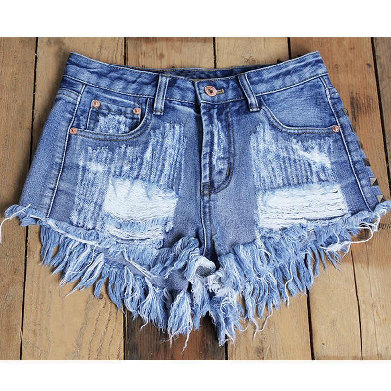 1d43717d2e6a ... catonATOZ 1993 Women's Fashion Brand Vintage Tassel Rivet Ripped High  Waisted Short Jeans Punk Sexy Hot ...