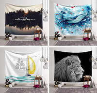 rectangle Animal Indian Lion Tapestry Wolf Elephant Tiger Printed Wall Carpet Polyester Tapestries Home Decorative Mandala cat