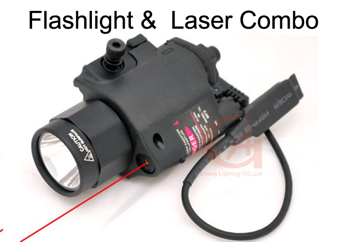 Tactical Pistol Red Laser & Flashlight Sight Scope Combo Weaver Picatinny Rail Rifle 200 Lumen HT8-0001R