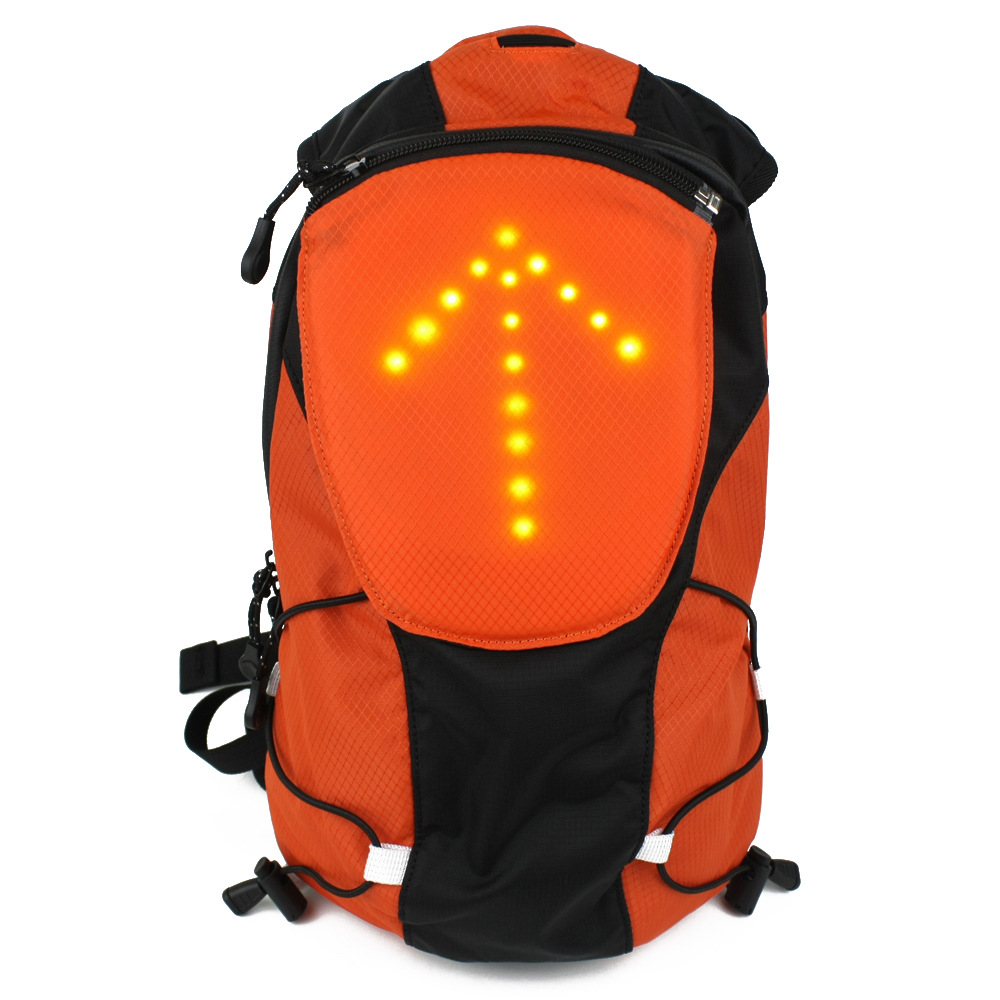 YUANMINGSHI Bersepeda Motor Reflektif Keselamatan LED Backpack Bag dengan Wireless Remote Control LED Pilot Safety Light
