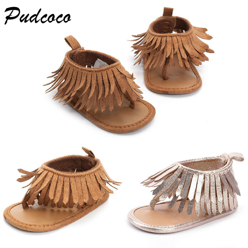 Pudcoco Fashion Baby Girls Leather Sandals Fringe Shoes Toddler Infants Girl Summer Tassel Flat Sandals Sizes 0-12M