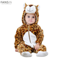 Novelty Winter Cute Animal Rompers Flannel Baby Boys Girl Clothes Cartoon Warm Thick Hooded Jumpsuits Infant