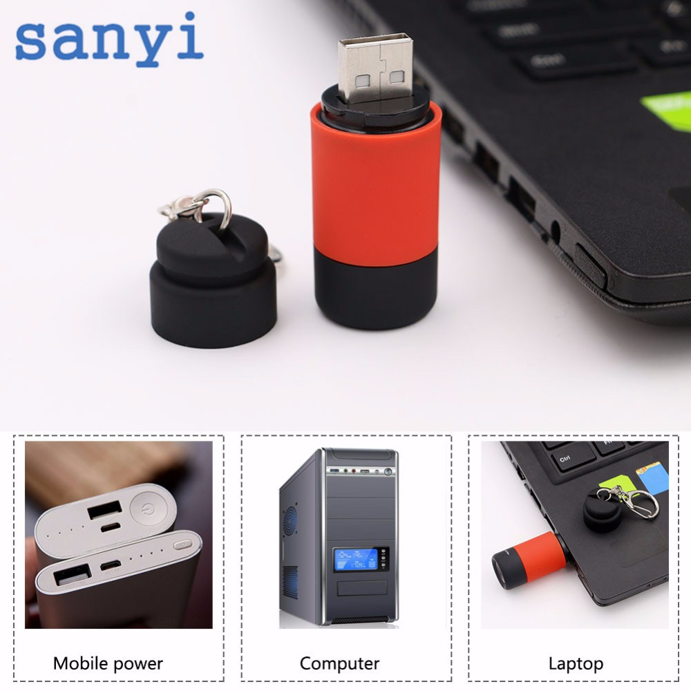 sanyi Portable mini keychain flashlight torch micro USB charging light USB rechargeable 5 colors torch pocket lanterna Reading ручной фонарик mini torch mini torch galaxy usb