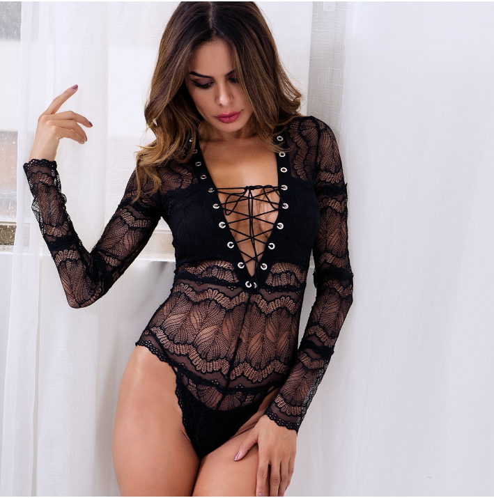 Women's Lace Sheer Lace Up Bodysuits Ladies See-Through Sexy Babydoll Bodysuit Long Sleeve Deep V Neck Skinny Clothing