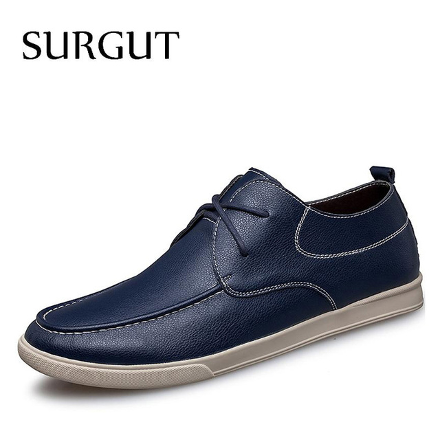 SURGUT Brand Sale Spring Autumn Causal Shoes Men Loafers High Quality Leather Moccasins Men Driving Shoes Flats Big Size 38-46