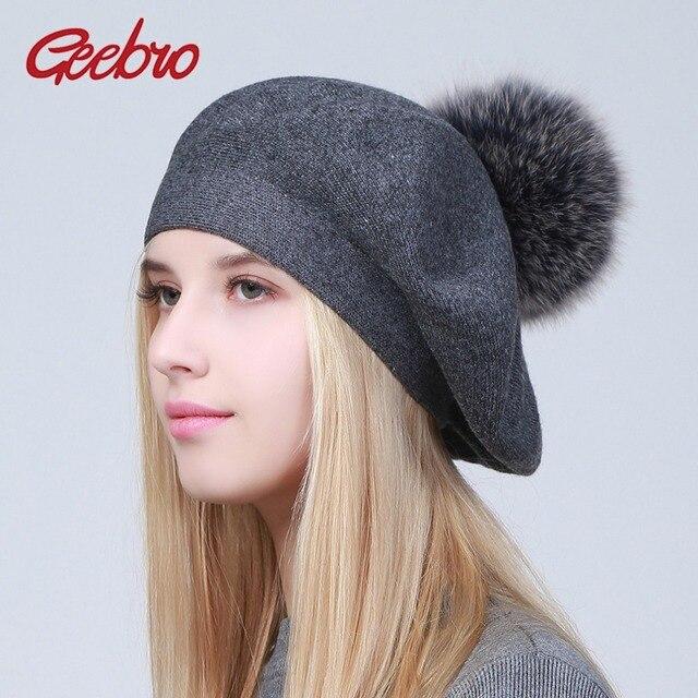 Geebro Phụ Nữ Mũ Nồi Mũ Mùa Đông Thường Dệt Kim Mũ Nồi Len Với Gấu Trúc Tự Nhiên Lông Súng Đại Bác Tự Phụ Nữ Rắn Màu Mũ Beret Mũ GS109