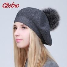 Geebro boinas femininas chapéu inverno casual malha boinas de lã com pele de guaxinim natural pompon senhoras cor sólida boina chapéus gs109