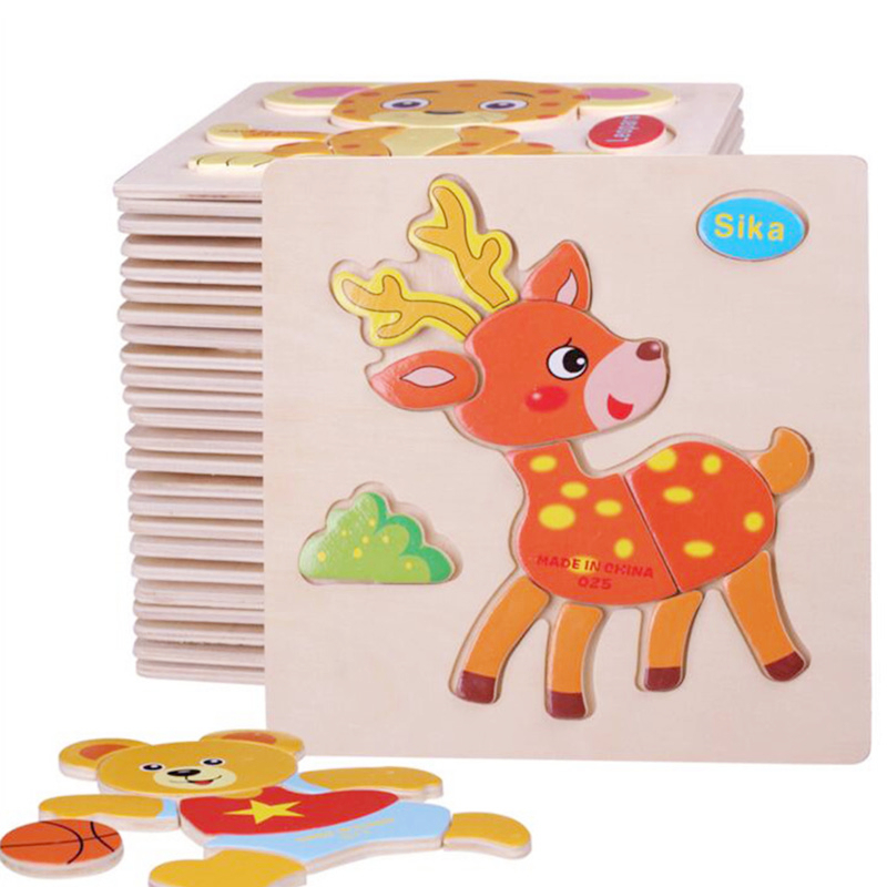 Лидер продаж Монтессори раннего развивающие деревянные головоломки Паззлы Игрушечные лошадки 27 модели головоломки на выбор Бесплатная до...