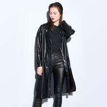 2016 Autumn New Arrivals Women Leather jackets Fashion Casual Faux Leather PU coats Black Single breasted women Trench Coats