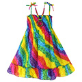 New Girls Dress +  Necklace Rainbow Smocked Party Bohemia Beach Kids Clothing Size 2-5