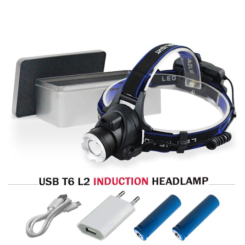 Sensor de infrarrojos linterna LED faro CREE XML T6 L2 cabeza antorcha lámpara 18650 recargable de la linterna de luz Lanterna