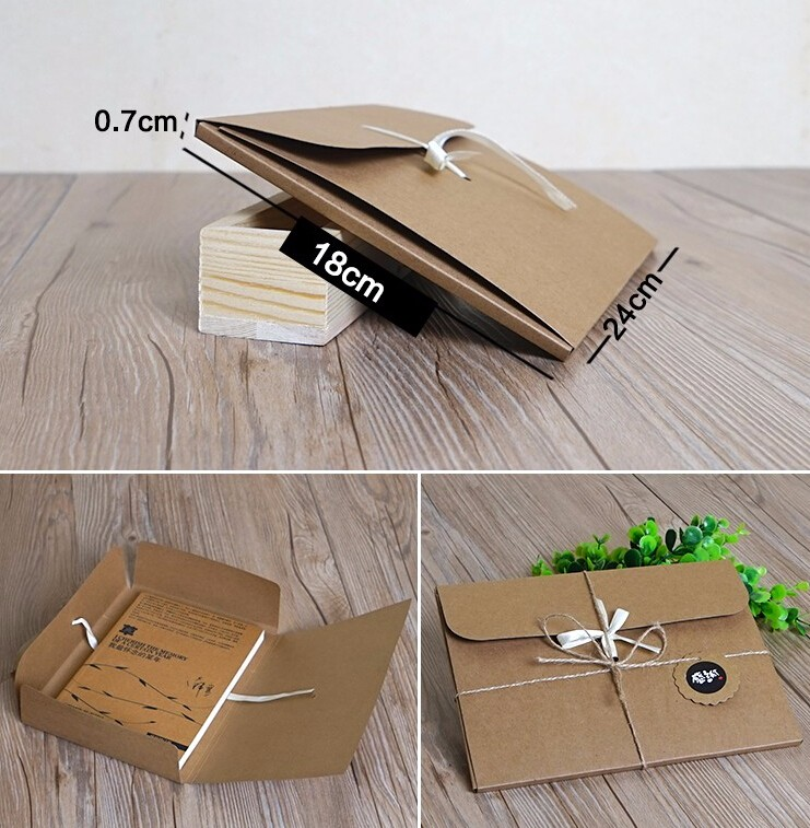 24*18*0.7cm large flat kraft envelope packaging case, kraft paper box gift for scarf