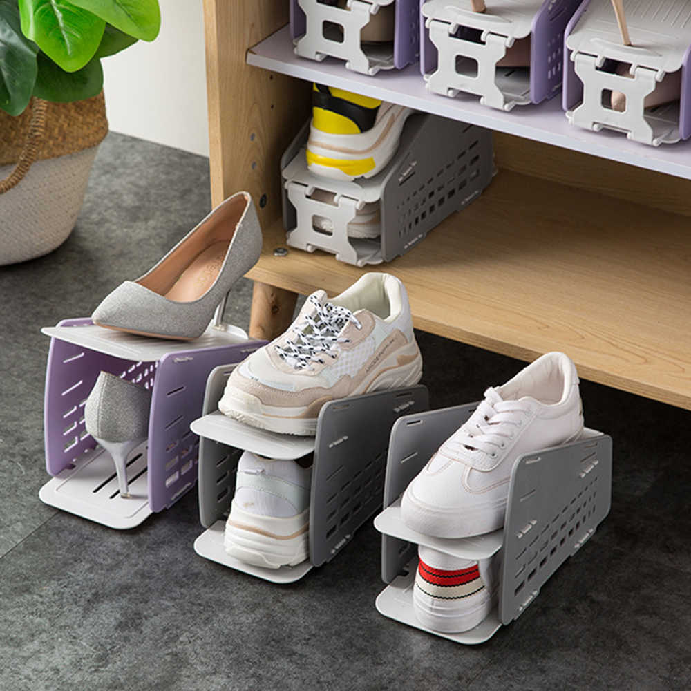 Two-Color Durable Adjustable Shoe Organizer Footwear Support Slot Space Saving Cabinet Closet Stand Shoes Storage Rack