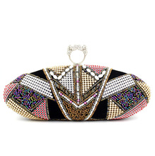 LLJUNDUI HEIßER Nationalen Stil Oval Pailletten Diamant Perlen Knucklebox Abendtaschen Mode Exquisite Frauen Party Kupplungen mit Kette