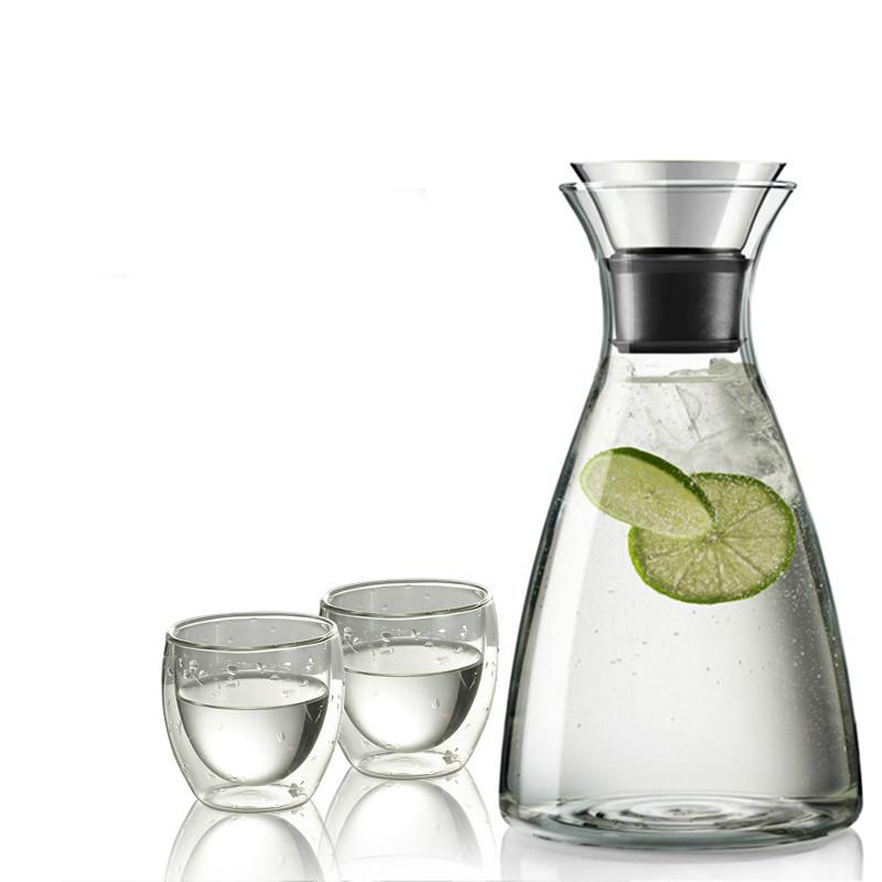 eleton vidrio jarra con tapa y cao jarra resistente al calor para agua fracaliente