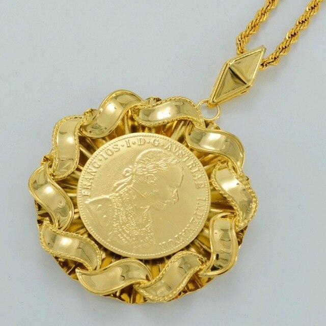 6.9CM / Big Coin Pendant Necklaces Women/Men,Franc IOS I D G Avstriae Imperator - Gold Plated FRANCESCO GIUSEPPE Coins #008612