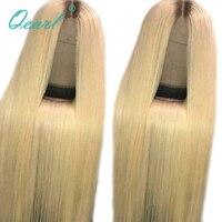Qearl полная блондинка парики, кружева натуральная парик человеческих волос 4 #/613 # Цвет два тона кружева парики прозрачный кружева средней час