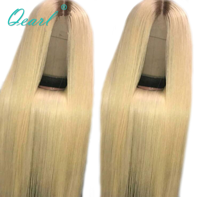 Qearl Blonde Full Lace Wigs Virgin Human Hair Wig 4 613 Color Two Tone Lace Wigs Transparent Lace Middle Part Full Wigs in Human Hair Lace Wigs from Hair Extensions Wigs