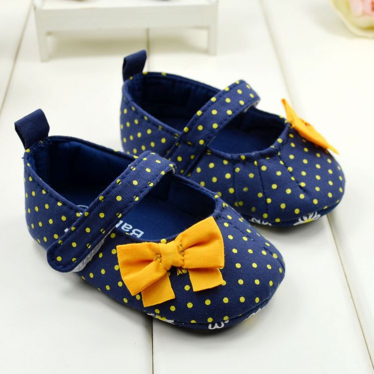 Spring Autumn Baby Shoes Sweet Dot Butterfly Bow Antiskid Toddlers Shoes Girls Cute First Walkers