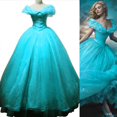New Original Cosplay Costume Adults Cinderella Blue Dress Princess Ball Costume