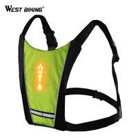 WEST BIKING LED Wireless Safety Vest Night Warning Light Vest Riding Running Backpack Pilot Lamp Turn Signal Light Safety Vests