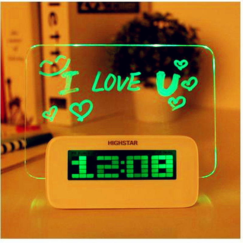 2017 Direct Selling Saat Mute Luminova Fluorescent Message Board Alarm Clock Battery Usb For Creative Background Light Led Lazy