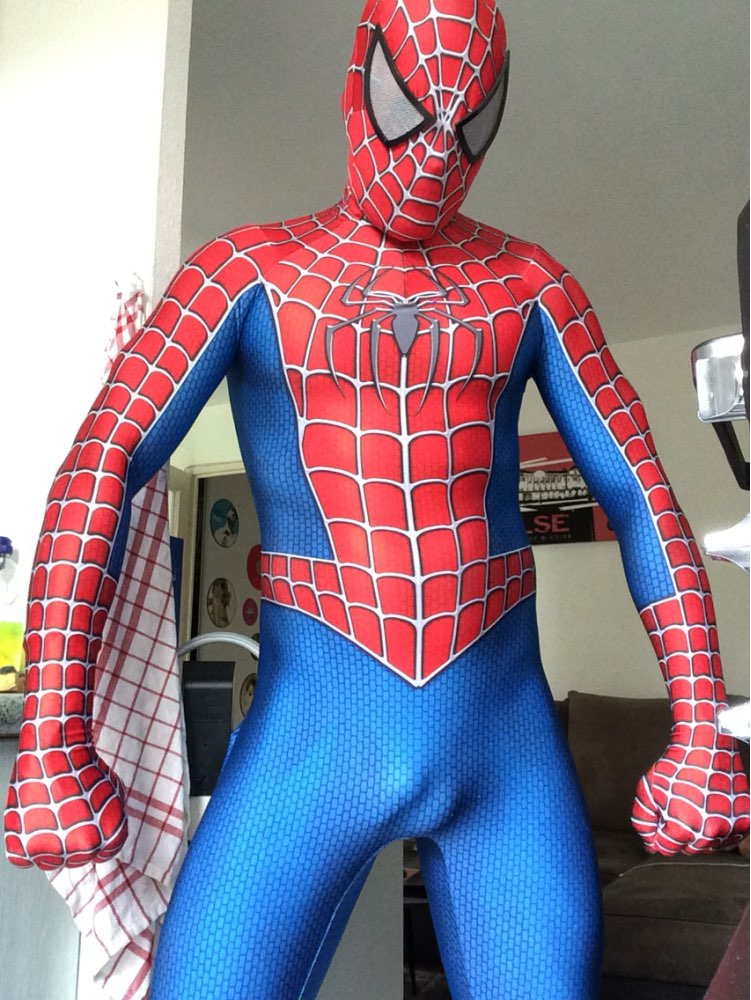 These adult Spiderman costumes are from the Spider-Man 3 movie. We have red Spiderman costumes and Venom black Spiderman costumes in many sizes and styles.