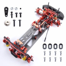 цена на 1/10 Alloy & Carbon Fiber 078055B G4 RC 4WD HSP Drift Racing Car Frame Body Kit RC Control Car DIY Red Blue and Black