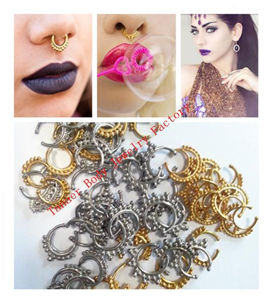Free shipping Mixed color mixed type 50pcs fake septum ring, tribal septum jewelry,indian nose rings