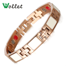 Fashion Jewelry Women Hot New Germanium Infrared 4 in 1 Ions Rpse Gold Plated Magnetic Stainless Steel Bracelet For Women недорого