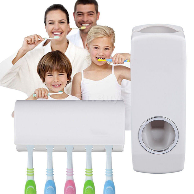 New Tidy & Creative Home Decor Wall Mount Rack Automatic Toothpaste Dispenser +5 Toothbrush Holder Bathroom Accessories