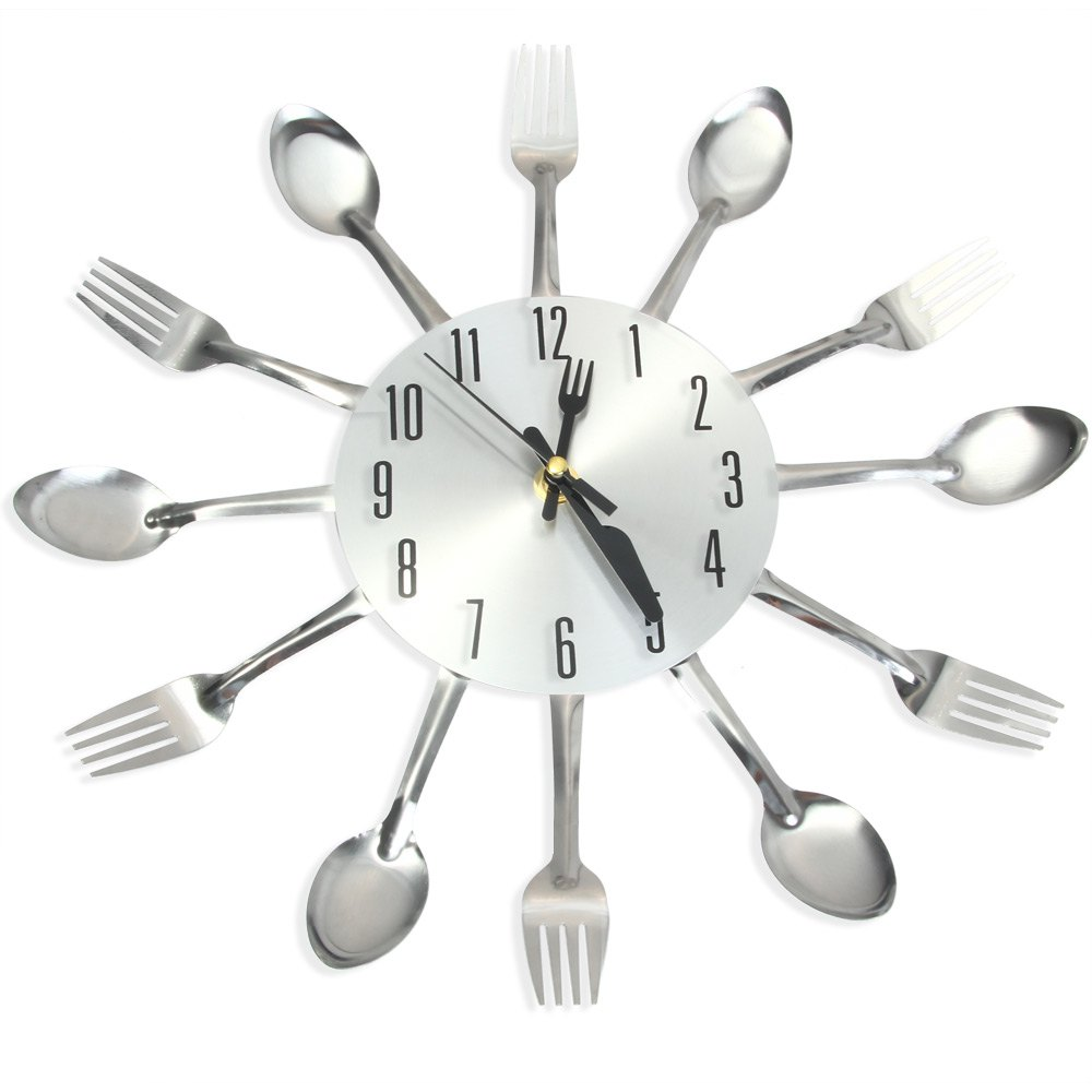 kitchen wall clock magic spoon and fork analog wall clock stainless steel modern design home living. beautiful ideas. Home Design Ideas