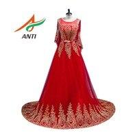 ANTI Elegant Red Evening Dress Long Sleeveless metal belt Robe De Soiree Vestido De Festa Formal Party Evening Gowns With Shawl