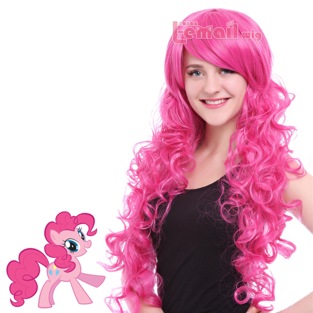 free shipping  Women 70cm Long Magenta My Little Pony Pinkie Pie Curly Wavy Party Cosplay Wigfree shipping  Women 70cm Long Magenta My Little Pony Pinkie Pie Curly Wavy Party Cosplay Wig