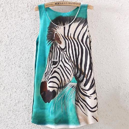 2016 Novas Mulheres de Verão bonito Tanques Vest Camis Encabeça camisas de Impressão Da Zebra
