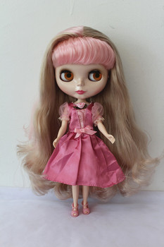 Blygirl Blyth doll Silver pink mixed curls No.7392 normal body 7 joints 1/6 body DIY doll hair soft for their makeup