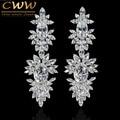 Lujo Clear CZ diamante oro blanco plateado de boda largo cuelga los pendientes de gota con Marquise forma Zirconia CZ322