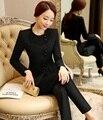 Formal Uniform Design Professional Elegant Black Autumn Winter Female Pantsuits With Tops And Pants Ladies Trousers Sets