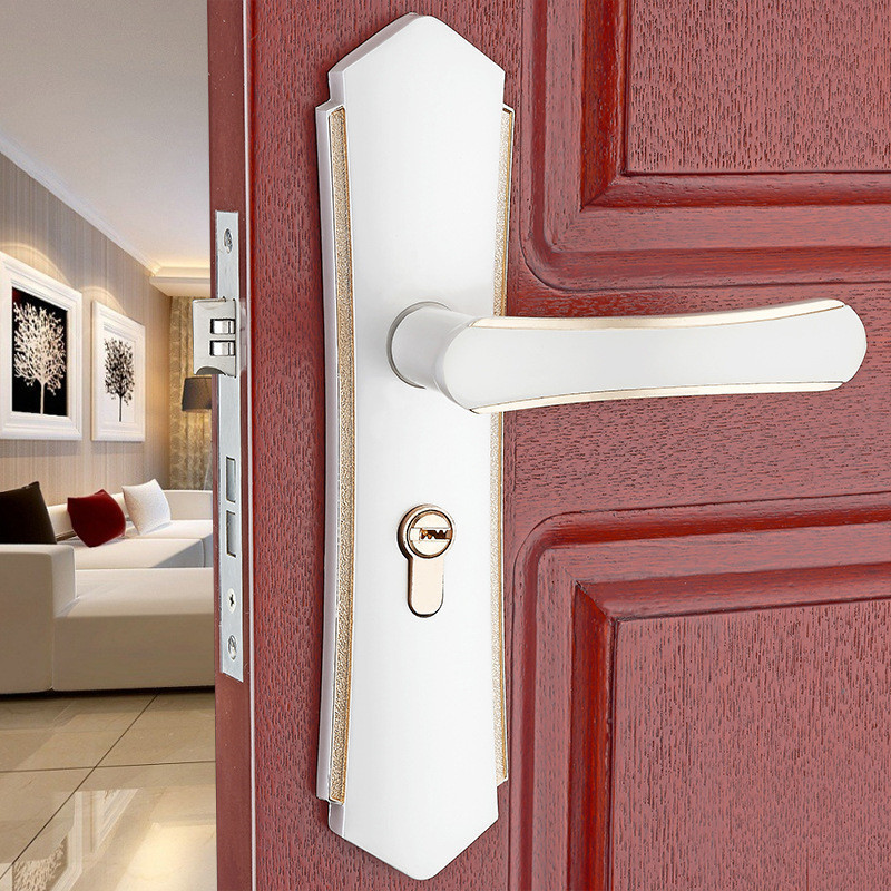 ZENHOSIT 1PC Simple European Aluminum Alloy Ivory White Door Handles & Lock For Bedroom Interior With Keys Accessories Set v neck red bean pink colour above knee mini dress satin dress women wedding party bridesmaid dress back of bandage