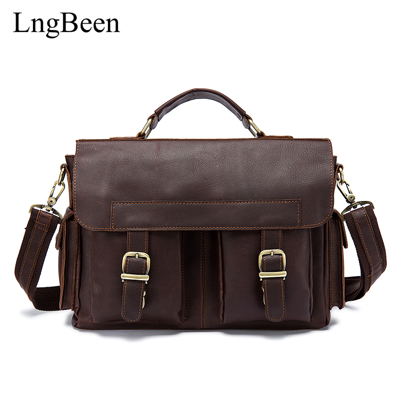 Lngbeen Genuine Leather Coffee Men Briefcase Laptop Business Bag Cowhide Men's Messenger Bags Luxury Lawyer Handbags LB8408 купить